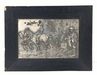 Antique Metal Relief Art Plaque Georg Bommer Harvest Wagon Horses People