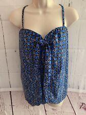 Island Pearls Women's 14 One-Piece Swimsuit/Dress Blue/Black Print Tie Front