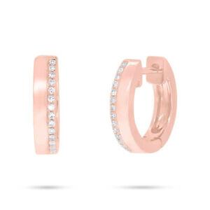 0.08 CT 14K Rose Gold Natural Round Cut Real Diamond Huggie Hoops Earrings