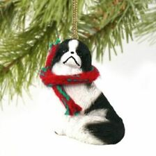 Japanese Chin Dog Christmas Ornament Holiday Figurine scarf