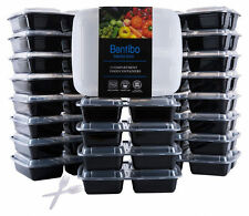 20 Meal Prep Containers 3 Compartment Food Storage Plastic Reusable Microwavable