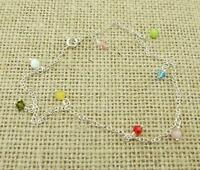 925 Sterling Silver Multi Colour Crystal Glass Beads Anklet Jewellery