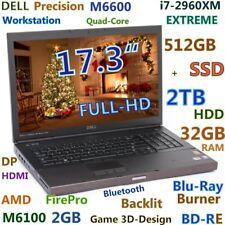 "3D-Design DELL M6600 17.3"" FHD i7-EXTREME (BDRE 512GB-SSD+2TB 32GB) Backlit"