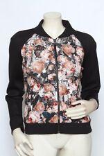 Sachin & Babi Black Multi Floral Bomber DREAM Neoprene Jacket Coat - Size 4