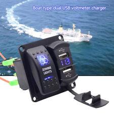 12V-24V 2 Gang Dual USB Rocker Switch Panel Blue LED Light For Car Marine Boat