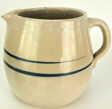 Vintage Antique Stoneware Blue Stripe BUTTERMILK PITCHER Hand Turned Farmhouse