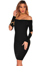 Abito aperto Nudo aderente Scollo Costine Ballo Party Casual Ribbed Knit Dress M