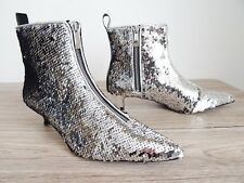 ZARA SILVER SEQUINNED KITTEN HEEL POINTED ANKLE BOOTS SIZE UK 3 EU 36 USA 6