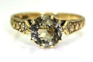 Vintage Smoky Citrine Solitaire 9ct Yellow Gold Ring K 1/2 ~ 5 1/2