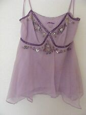 Monsoon Chiffon Silk Top with Beads and Sequins S: Small