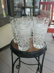 """Vtg. Anchor Hocking Wexford Clear Glass Ice Tea Tumblers. 6 1/4"""" Tall. Set of 5"""