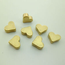 50pcs 7mm Raw Brass Heart Beads Without Hole Studs Embossing Crafts for Artisans