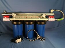 """Big Blue 10"""" Triple Whole House Water Filter-8 gpm UV w/Ball Valves and Gauges"""