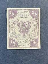 1859 GERMANY, LUBECK, SC #1, 1/2s. VALUE, COAT OF ARMS