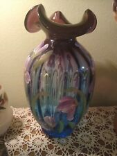 """Fenton Mulberry Hand Painted """"Iris Garden"""" Connoisseur Collection Signed Vase"""