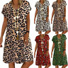 Womens Leopard Printed Mini Dresses Ladies Loose Casual Beach Sundress Plus Size