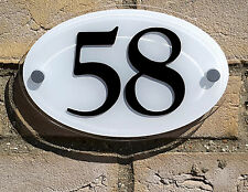 Oval House Number Plaque - Black on White Background - Acrylic Plastic