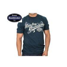 Camisetas de hombre de manga corta azul Harley-Davidson