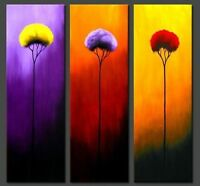 CHOP307 hand-painted 3pcs abstract landscape tree art oil painting on canvas