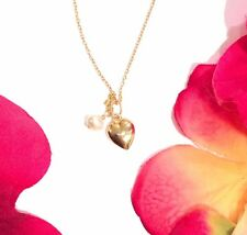 """puffy heart pearl charm necklace solid 14k yellow gold 16"""" chain"""
