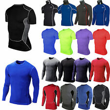Mens Compression Under Base Layer T-Shirt Sports Gym Exercise Fitness Tops Tee