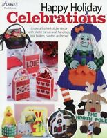 Happy Holiday Celebrations Christmas Halloween Plastic Canvas Pattern Book NEW