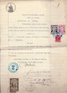 1941 CARTA BOLLATA LIRE 4 REGNO PMF COMUNE TORRICELLA SICURA MARCHE E DIRITTI