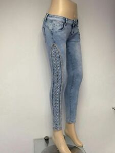 New Womens Ladies Slim Jeans with Side Dimante Sizes 6-14