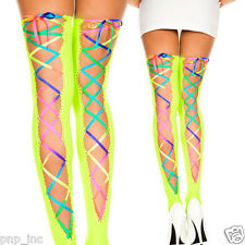 Opaque Neon Green Criss-Cross Rainbow Laces Thigh Highs Stockings Club Ravewear