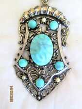 VINTAGE TURQUOISE COLORED DARKENED SILVER TONED PENDANT NECKLACE