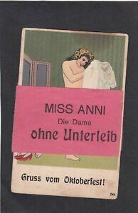 """AK, München, Gruß vom Oktoberfest, ca. 1920 """" MISS ANNI, die Dame ohne Unterleib"""