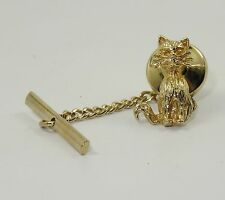 VINTAGE  SOLID 14K ANSON CAT LAPEL TIE PIN WITH CHAIN