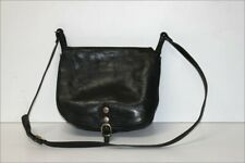 GENUINE LEATHER Sac Besace Cuir Semi Rigide Noir Bandoulière TBE