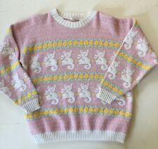 Vintage 80's Pastel Acrylic Lurex Cat Kitten Sweater Kawaii Size S M L Fairy Kei