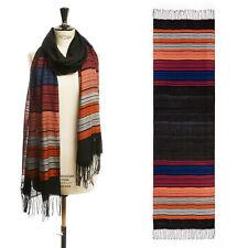 new DRIES VAN NOTEN black colorblocked stripe cotton blend tassel scarf