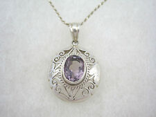 Amethyst Gemstone Sterling Silver Italy Pendant 1.5mm Rope Necklace Domed Floral