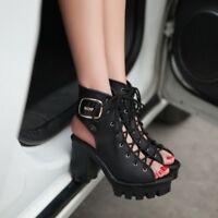 Womens Platform Lace Up Block Chunky Heel Fashion Peep Toe Slingback Ankle Boots
