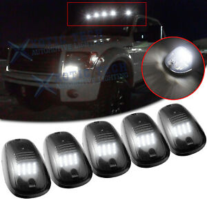 Smoked Lens Cab Roof Marker Running Lamps w/ White LED Lights For Truck SUV 5x