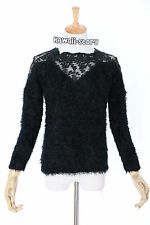 TH-18 Gr. XS Pullover schwarz black Spitze Lace Gothic Japan Trend Fashion