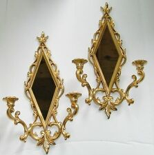 Syroco Vtg 60s Pair Gold Mirror Wall Hanging Homco Candle Sconce Leaf Diamond