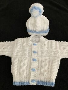 BABY BOYS HAND KNITTED ARAN CARDIGAN  AND HAT 3/6 Months