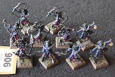 Games Workshop WARHAMMER Fantasy Elfi Oscuri Streghe Elfi x12 metallo dipinto Esercito