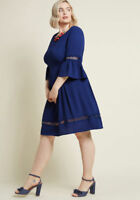 MODCLOTH  FIT & FLARE DRESS BLUE EMBROIDERY DETAIL  SIZE 1X