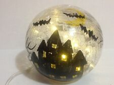 Witchs Led Lighted Crackle Glass Crystal Ball Orb Hand Painted Decor Halloween
