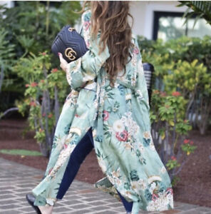 Zara Green Silk Oriental Floral Print Robe Kimono Bloggers Fav Uk L 14 16 💚