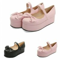 Sweet Women's Girls Lolita Bowknot Mary Janes Strap Cosplay Casual Shoes 44/47 D