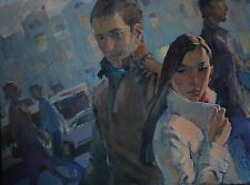 A chance meeting Cityscape by Sergey Avdeev Original RUSSIAN oil Painting