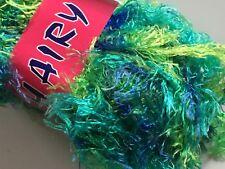 Blues Greens Wavy Eyelash Yarn - Dark Horse Hairy #22 Poshly Peacock 100gr 82yds