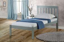 Birlea Denver Single Bed Frame Solid 90cm 3FT Grey Wood Traditional Shaker Style