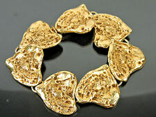 AUTHENTIC YVES SAINT LAURENT YSL GOLDTONE HEART SHAPE BRACELET MADE IN FRANCE